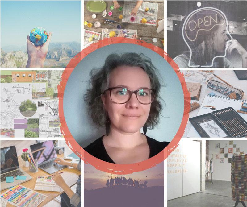 Photo portrait de Marie, avec en arrière plan une mosaïque d'images inspirantes telles que bureau avec un ordinateur et des post-its, des personnes rassemblées de manière conviviale, un open space de coworking.
